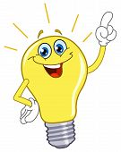 image of light-bulb  - Vector cartoon of a light bulb pointing with his finger - JPG