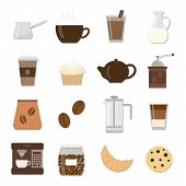 Постер, плакат: Set of different flat coffee icons