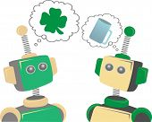 Two Robots Thinking About St. Patrick's Day Clover And Beer
