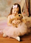 Little Ballerina Beauty With Teddy Bear