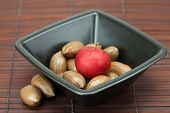 picture of pecan tree  - pecans and apples in a bowl on a bamboo mat - JPG