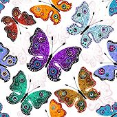 Seamless White Pattern With Butterflies