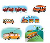 Hand drawn illustrations about different vehicles