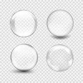white transparent glass sphere with glares and highlights poster