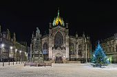 Facade Of St Giles Cathedral (the High Kirk), Edinburgh, Scotland, Illuminated At Night In Winter