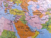 foto of saudi arabia  - spherical globe map puzzle showing middle east - JPG