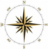 picture of compass rose  - black and gold compass rose illustraion with the cardinal points and markings at at each of the 360 degrees - JPG