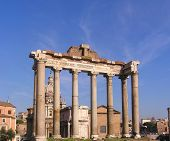 stock photo of spqr  - the saturn temple in the roman forum in rome  - JPG