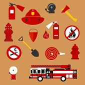 Постер, плакат: Fire safety firefighter and protection flat icons