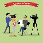 Постер, плакат: Camera Crew Team People Group Flat Style