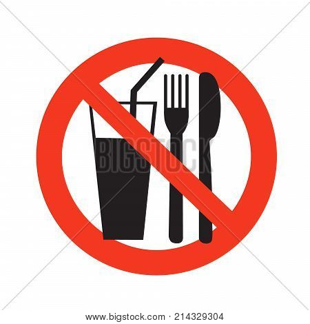 No Eating And Drinking Sign Ban On Food Forbidden Black In Red Circle  Isolated On White Background V poster