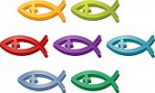 Jesus Christian fish symbol colored icon set illustration
