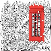 Winter Coloring Book. Phone Booth poster