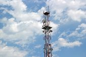 Telecommunication Tower Among The Clouds
