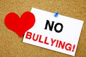 No Bullying Hand Writing Text Caption Inspiration Showing Introduction Concept Meaning Love Bullies poster