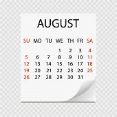 Monthly Calendar 2018 With Page Curl. Tear-off Calendar For August. White Background. Vector Illustr poster