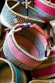 Hand Made Baskets On Sale At A Market