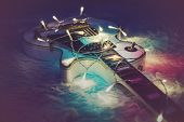 Guitar With Lighted Garland poster