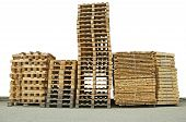 Stacks Of New Wooden Pallets
