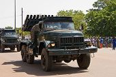 Mobile rocket launcher at a military parade in Ouagadougou, Burkina Faso