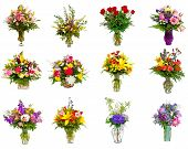 Composite of various colorful flower arrangements as bouquets in vases and baskets