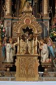 stock photo of tabernacle  - A golden tabernacle on altar in church - JPG