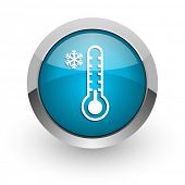 Cold thermometer blue silver metallic chrome border web and mobile phone icon on white background wi poster