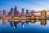Tampa, Florida, USA downtown skyline on the bay. poster