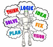 Think Logic Idea Robot Thought Clouds 3d Illustration poster
