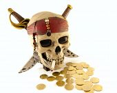 Skeleton Pirate Skull With Metal Coins And A Cigarette