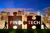 Fintech financial technology concept with puzzle pieces poster