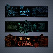 Vector Set Of Horizontal Christmas Banners. poster