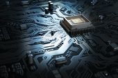 Computer motherboard with CPU. Circuit board system chip with core processor. Computer technology ba poster