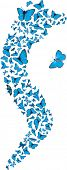 Swarm of flying blue butterflies making S form. Vector set