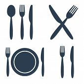 Plate, Fork, Spoon And Knife Icons Set poster