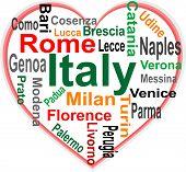Coração de Itália e nuvem de palavras com cidades maiores