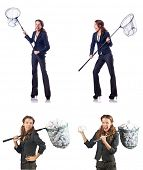Woman with catching net and papers poster