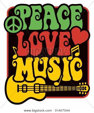 Peace Love Music In Rasta Colors Poster Id31407044
