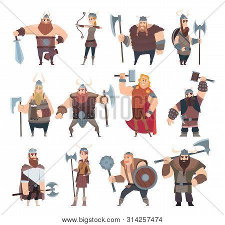 poster of Viking Cartoon. Scandinavian Mythologyy Characters Norway Costume Vikings Warrior Male And Female Ve