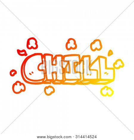 poster of warm gradient line drawing of a cartoon chill symbol