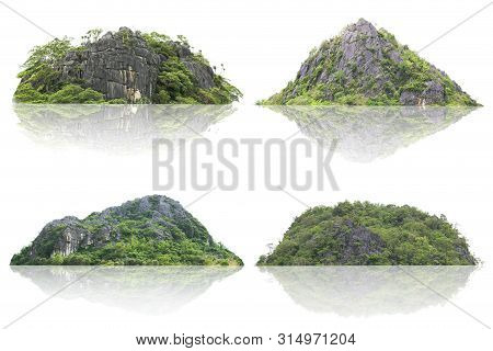 poster of Panorama Island, Hill, Mountain Isolated On A White Background. The Collection Of Mountain. Used For