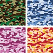 image of camoflage  - vector colorful camouflage patterns for all seasons - JPG