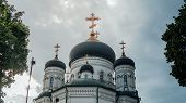 Christian Church With Golden Crosses. Christian Temple In Russia. The Church Of The Christian Church poster