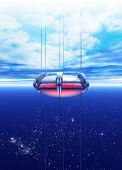 image of nanotube  - A futuristic space elevator is seeing rising into earth orbit - JPG