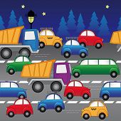 Cars On The Highway. Seamless Vector Pattern