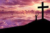 Silhouette eines Mannes loben jesus