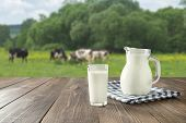 Fresh Milk In Glass On Dark Wooden Table And Blurred Landscape With Cow On Meadow. Healthy Eating. R poster
