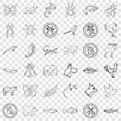 Fauna Icons Set. Outline Style Of 36 Fauna Vector Icons For Web For Any Design poster