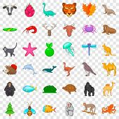 Fauna Icons Set. Cartoon Style Of 36 Fauna Vector Icons For Web For Any Design poster