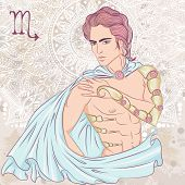 Zodiac. Vector Illustration Of The Astrological Sign Of Scorpio As A Man With A Naked Torso. The Ill poster